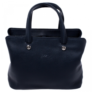 Longchamp Navy Blue Leather Tote