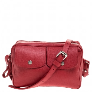 Longchamp Red Leather Le Foulonne Camera Crossbody Bag