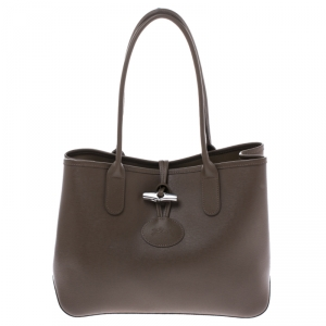 Longchamp Light Brown Leather Roseau Tote