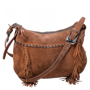 Longchamp Brown Suede Fringed Zipper Trim Hobo Bag