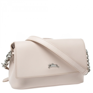 Longchamp Light Beige Leather Flap Crossbody Bag