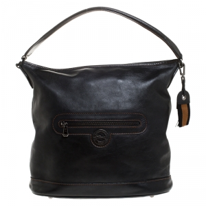 Longchamp Black Leather Front Pocket Hobo