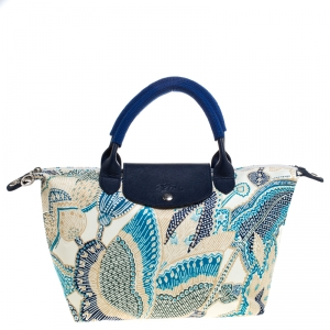 Longchamp Blue/White Floral Print Nylon and Leather Small Le Pliage Tote