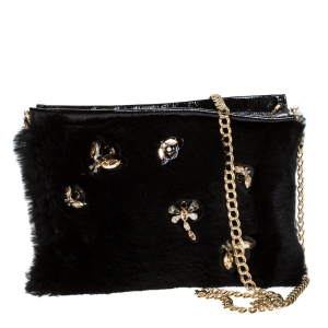 Longchamp Black Embellished Fur and Patent Leather Evening Bag