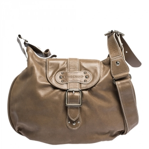 Longchamp Beige Leather Buckle Flap Shoulder Bag