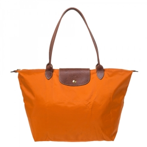 Longchamo Orange/Brown Nylon and Leather Le Pliage Tote