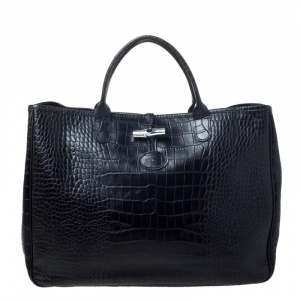 Longchamp Black Crocodile Embossed Leather Roseau Tote