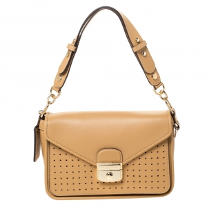 Longchamp Beige Perforated Leather Le Pliage Heritage Top Handle Bag