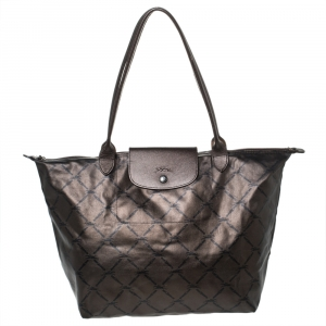 Longchamp Metallic Brown Nylon and Leather Le Pliage Tote