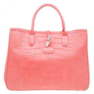 Longchamp Corail Pink Croc Embossed Leather Roseau Tote