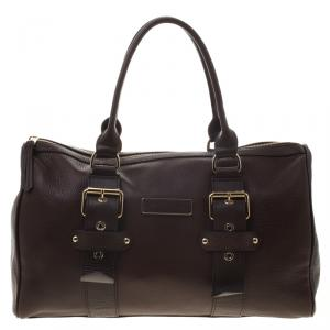 Longchamp Brown Leather Gloucester Bowling Bag