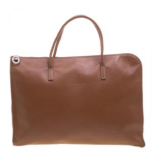 Longchamp Brown Leather Business Briefcase Bag