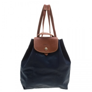 Longchamp Blue/Cognac Nylon Backpack