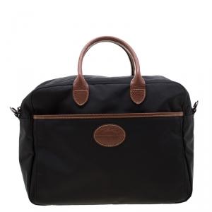 Longchamp Black/Brown Nylon and Leather Le Pliage Travel Bag