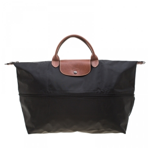 Longchamp Black/Brown Nylon and Leather Le Pliage Expandable Travel Bag