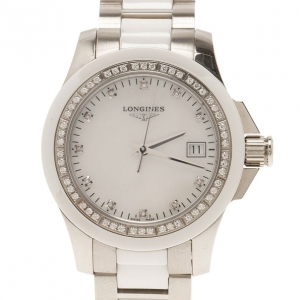 Longines White Stainless Steel & Ceramic Women's Wristwatch 35MM