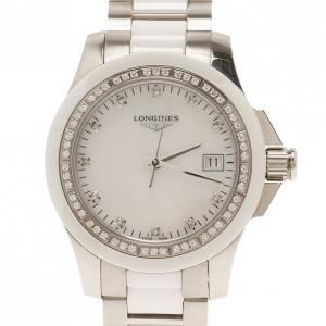 ساعة يد نسائية لونجين بيضاء فولاذ مقاوم للصدأ & سيراميك 35 مم
