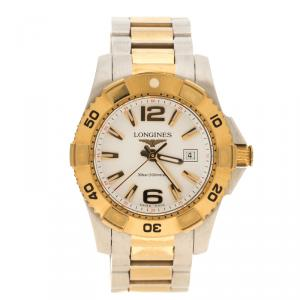 Longines White Yellow Gold Plated Steel and Stainless Steel Hydro Conquest Women's Wristwatch 30 mm
