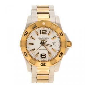 ساعة يد نسائية لونجين هايدرو كونكيست ستانلس ستيل و ستيل مطلي ذهب أصفر بيضاء 30مم