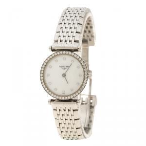 Longines White Mother of Pearl Stainless Steel La Grande Classique de Longines Women's Wristwatch 24 mm
