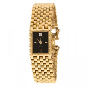 ساعة يد نسائية لونجين فينتدج QWR HT 1964-0961 مطلية ذهب سوداء 16 مم