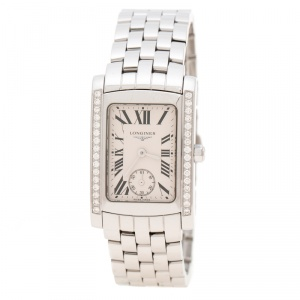Longines White Stainless Steel and Diamonds Dolcevita L5.502.0.71.6 Women's Wristwatch 22 mm