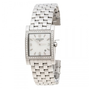 Longines White Mother of Pearl Stainless Steel Diamond Dolcevita L5.503.0 Women's Wristwatch 24 mm