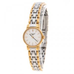 ساعة يد نسائية لونجين بلياسانس L4.219.2 ستانلس ستيل مطلي ذهب بيضاء 20مم