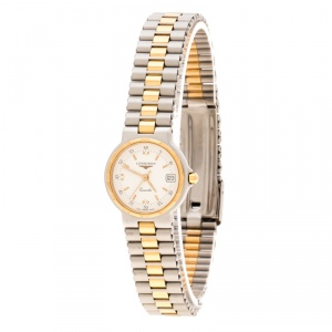 Longines White Two-Tone Stainless Steel Conquest 152-4937 Women's Wristwatch 24 mm
