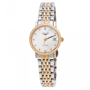 Longines Mother of Pearl 18K Rose Gold Stainless Steel Elegant Collection L4.309.5 Women's Wristwatch 25.50 mm