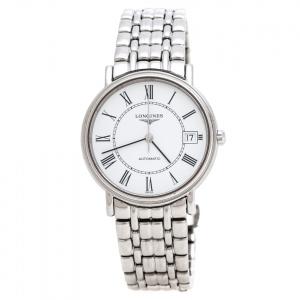 ساعة يد نسائية لونجين بريزينس L4.821.4 ستانلس ستيل بيضاء 34.50 مم