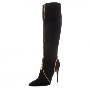 Loriblu Black Suede Zip Accent Knee High Pointed Toe Boots Size 36