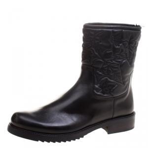 Loriblu Black Vine Leaves Embroidered Leather Flat Boots Size 41