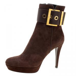 Loriblu Dark Brown Suede Buckle Detail Platform Ankle Boots Size 40