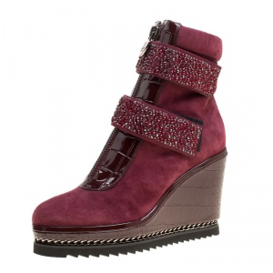 Loriblu Bordeaux Suede and Croc Embossed Leather Wedge Boots Size 36