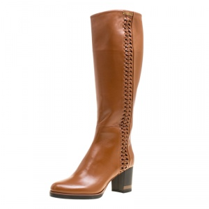Loriblu Brown Leather Weave Detail Knee High Boots Size 38.5