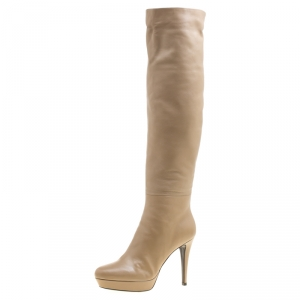 Loriblu Beige Leather Faux Fur Lined Platform Knee Length Boots Size 38.5