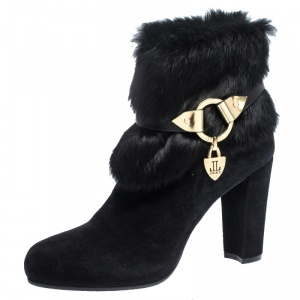Loriblu Black Suede And Fur Trim Pointed Toe Ankle Boots Size 41