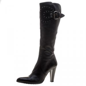 Loriblu Black Leather Buckle Detail Knee High Boots Size 39