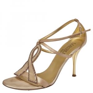 Loriblu Beige Satin And Suede Crystal Embellished Ankle Strap Sandals Size 38