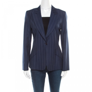Loro Piana Navy Blue and White Striped Cotton Cloud Blazer S