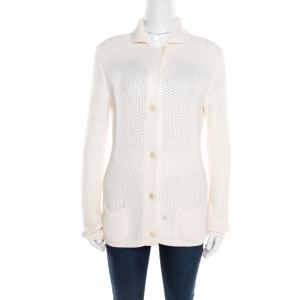 Loro Piana Cream Silk and Cotton Chunky Knit Button Front Cardigan M