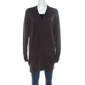 Loro Piana Brown Cashmere Button Front Long Cardigan M