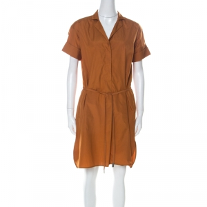 Loro Piana Tan Brown Cotton Belted Shirt Dress S
