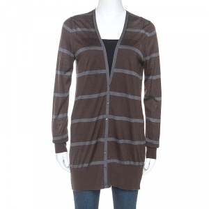 Loro Piana Brown Striped Cashmere Button Front Cardigan M