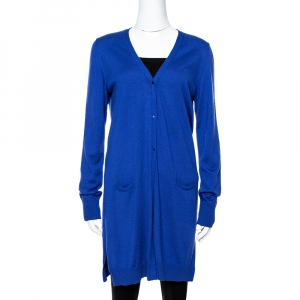 Loro Piana Blue Cashmere Button Front Cardigan L