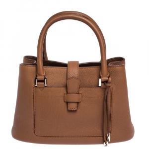 Loro Piana Brown Leather Bellevue Odessa Tote
