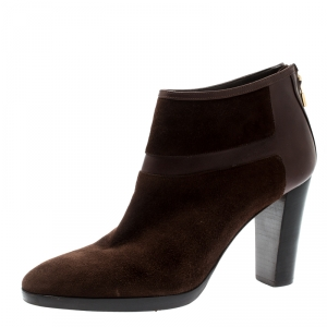 Loro Piana Brown Suede And Leather Ankle Boots Size 40 - used