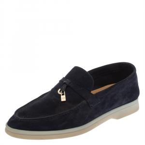 Loro Piana Dark Blue Summer Charms Walk Loafers Size 37