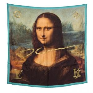 Louis Vuitton X  Jeff Koons Monalisa Printed Silk Lurex Embroidered Square Scarf